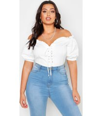 plus off shoulder top met veters en hartvormige hals, wit