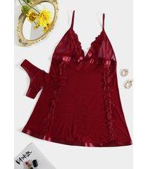 bowknot burdeos con cuello en v diseño transparente conjunto de lencería con adornos de encaje