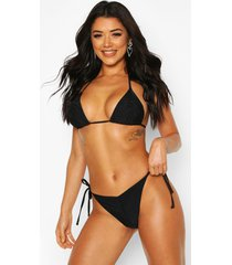 brazilian ruched triangle bikini, black