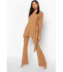 tall puff sleeve belted blazer, camel