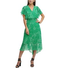 dkny chiffon v-neck flutter-sleeve midi dress