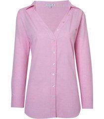 camisa dudalina manga longa tela maquinetado decote aberto feminina (rosa claro, 42)