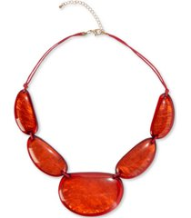 "style & co gold-tone large stone statement necklace, 25-1/2"" + 3"" extender, created for macy's"