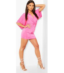 disco slinky twist front mini dress, pink