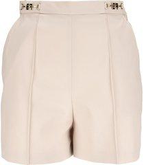 elisabetta franchi ottoman shorts with logoed clasp