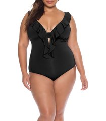 plus size women's becca etc. socialite ruffle one-piece swimsuit, size 2x - black