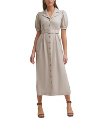 calvin klein belted button-front linen notched-collar maxi dress