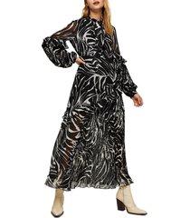 women's topshop zebra print ruffle & pleat long sleeve maxi dress, size 4 us - black