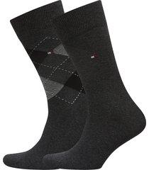 th men sock check 2p underwear socks regular socks svart tommy hilfiger