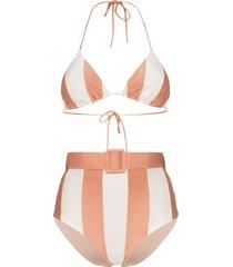 adriana degreas porto striped belted waist bikini set - pink