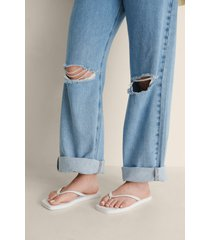 na-kd shoes flip-flops med fyrkantig tå - white