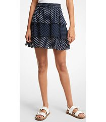 mk gonna a balze in georgette a pois - mdntbl/wht - michael kors