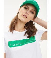 t-shirt manga corta blanco con verde tommy hilfiger