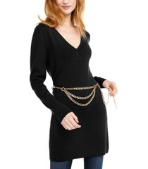 inc chain-belt sweater tunic, created for macy's