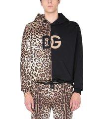 dolce & gabbana patchwork leopard sweatshirt