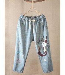 pantaloni demin vintage in vita con elastico e ricamo