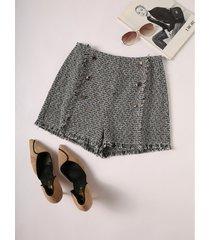 pantalones cortos de cintura alta con diseño cruzado negro yoins