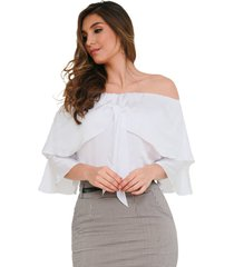 blusa off shoulders con bolero para anudar en escote