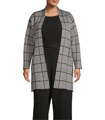 plus houndstooth open sweater jacket