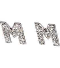 msgm crystal logo earrings