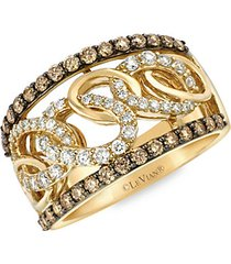 chocolatier® 14k honey gold™, vanilla diamonds® & chocolate diamonds® midi ring