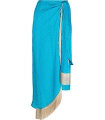 art dealer fringe-trimmed silk skirt - blue
