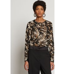 proenza schouler feather print long sleeve t-shirt fatigue/black/tan feather/white xs
