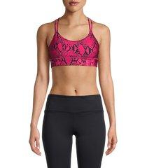 dkny women's vivid snake print strappy back bra - beetroot - size s