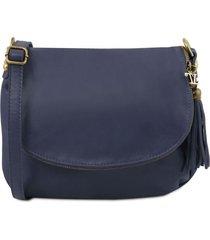 tuscany leather tl141223 tl bag - borsa morbida a tracolla con nappa blu scuro