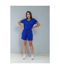 conjunto de shorts + t-shirt c/ babado produzido na viscolycra azul