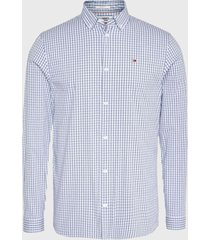 camisa tommy jeans tjm stretch poplin stripe shirt celeste - calce regular
