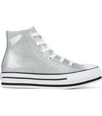 converse chuck taylor all star platform con capa brillante silver, white