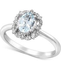 aquamarine (5/8 ct. t.w.) & diamond (1/10 ct. t.w.) ring in 14k white gold