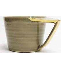 filiżanka cappuccino, szara, malowana złotem