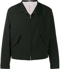 thom browne raglan band collar jacket - black