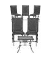 jogo cadeiras 5un e mesa de centro sevilha para edicula jardim area varanda descanso - preto