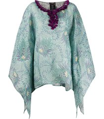 etro abstract print poncho - blue