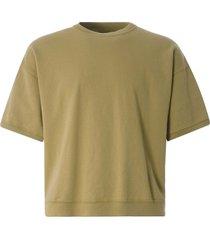 monitaly cropped short sleeve sweatshirt | khaki | m29703-khk