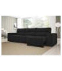 sofá 6 lugares net reale assento retrátil e reclinável suede preto 2,84m (l)