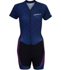 macaquinho de ciclismo refactor macan - feminino - azul/preto