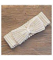 cotton headband, 'alabaster bow' (guatemala)