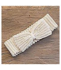 cotton headband, 'alabaster bow' (guatemala)