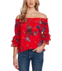 cece floral-print off-the-shoulder top