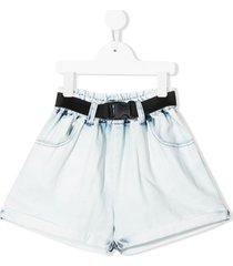 andorine belted wide-leg denim shorts - blue