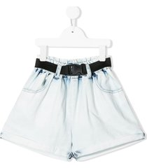 andorine belted wide-leg denim shorts - blue