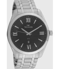 relógio technos 2115mxm/1p prata/preto