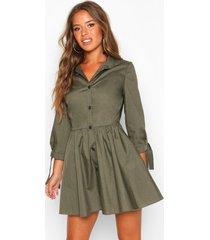 petite button through smock dress, khaki