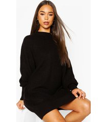 extreme oversized crew neck knitted dress, black