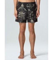 beach short arabesco small-preto/ oliva