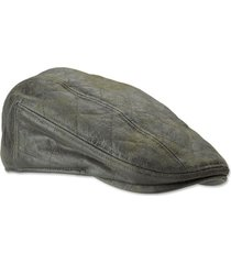 waxed cotton quilted driving cap, olive, large